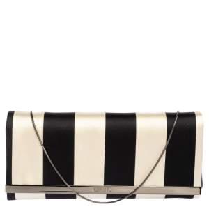 Carolina Herrera Black/White Striped Satin Chain Clutch