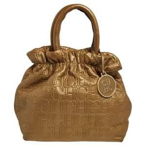 Carolina Herrera Gold Monogram Embossed Leather Bucket Bag