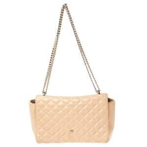 Carolina Herrera Beige Quilted Leather Chain Shoulder Bag