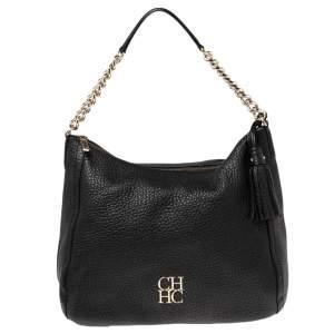 Carolina Herrera Black Leather Chain Tassel Hobo