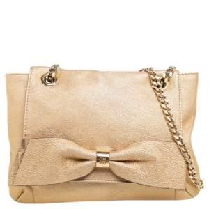 Carolina Herrera Metallic Gold Leather Bow Flap Shoulder Bag
