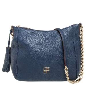 Carolina Herrera Navy Blue Leather Chain Tassel Shoulder Bag