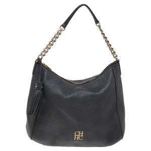 Carolina Herrera Black Pebbled Leather Chain Shoulder Bag