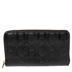 Carolina Herrera Black Monogram Leather Zip Around Wallet