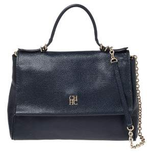 Carolina Herrera Navy Blue Leather Minueto Flap Bag