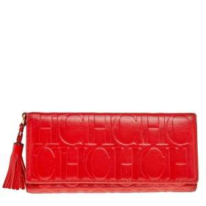 Carolina Herrera Red Monogram Leather Trifold Continental Wallet