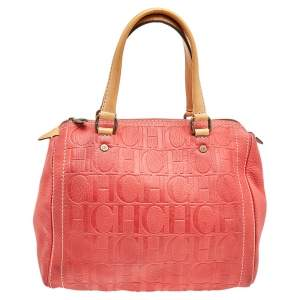 Carolina Herrera Red/Beige Leather Monogram Embossed Andy Boston Bag