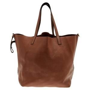 حقيبة يد توتس كارولينا هيريرا جلد بنقشة مونوغرامي بني