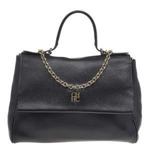 Carolina Herrera Black Leather Minuetto Top Handle Flap Shoulder Bag