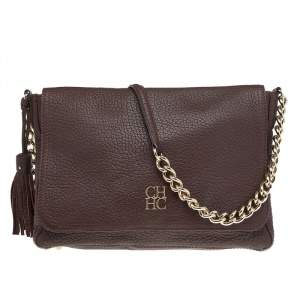 Carolina Herrera Brown Leather Tassel Flap Chain Shoulder Bag