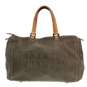 Carolina Herrera Brown Leather Monogram Embossed Boston Bag