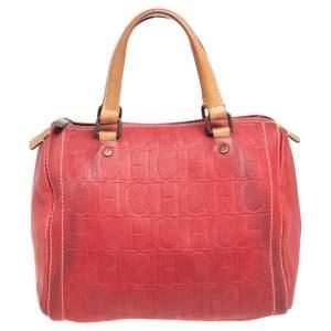 Carolina Herrera Red Monogram Embossed Leather Andy Boston Bag