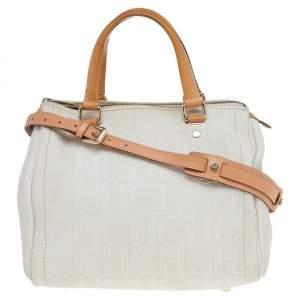 حقيبة ساتشل كارولينا هيريرا آندي جلد أبيض / بني بنقشة مونوغرامي