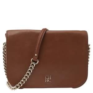 Carolina Herrera Brown Leather Chain Flap Shoulder Bag