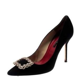 Carolina Herrera Black Suede Crystal Embellished Pointed Toe Pumps Size 40