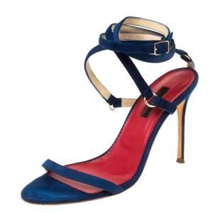 Carolina Herrera Navy Blue Strappy Suede Ankle Wrap Sandals Size 39