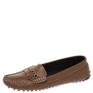 Carolina Herrera Brown Leather Chain Detail Loafers Size 37