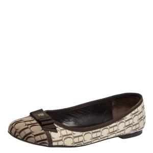 Carolina Herrera Beige/Brown Monogram Canvas Cap Toe Bow Ballet Flats Size 39