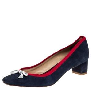 Carolina Herrera Blue Suede And Red Ribbon Trim Bow Pumps Size 38