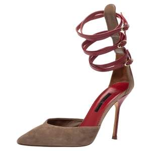 Carolina Herrera Beige Suede And Red Leather Strappy Pointed Toe Pumps Size 38