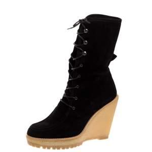 Carolina Herrera Black Suede Rubber Platform Wedge Mid Calf Lace Up Boots Size 38