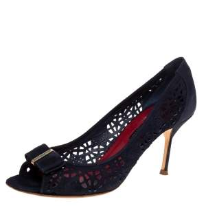 Carolina Herrera Blue Suede Lasercut Bow Peep Toe Pumps Size 40