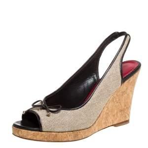 Carolina Herrera Beige Canvas And Leather Trim Bow Cork Wedge Slingback Sandals Size 38