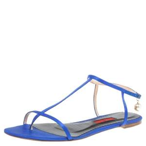 Carolina Herrera Blue Satin Pearl Logo T Strap Flat Sandals Size 41