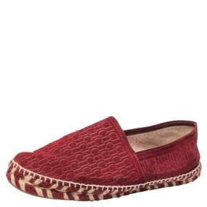Carolina Herrera Burgundy Suede Monogram Espadrilles Sneaker Size 41