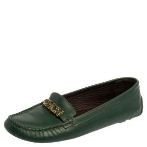 Carolina Herrera Green Leather Logo Detail Slip On Loafers Size 39