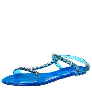 Carolina Herrera Blue PVC Studded Jelly Sandals Size 38
