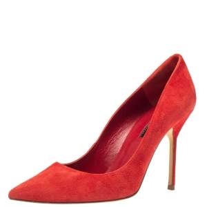 Carolina Herrera Red Suede Pointed Toe Pumps Size 40
