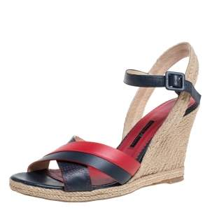 Carolina Herrera Red Black Leather Criss Cross Wedge Espadrille Ankle Strap Sandals Size 41
