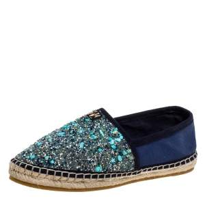 Carolina Herrera Blue Canvas Embellished Espadrilles Size 38