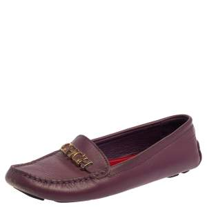 Carolina Herrera Purple Leather Logo Loafers Size 37