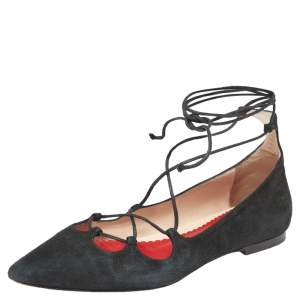 CH Carolina Herrera Black Suede Lace Up Ballet Flats Size 37