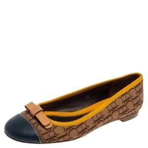 Carolina Herrera Beige/Yellow Monogram Canvas And Leather Cap Toe Bow Ballet Flats Size 37
