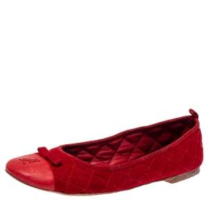 Carolina Herrera Red Suede And Leather Bow Ballet Flats Size 37
