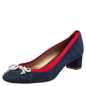 Carolina Herrera Blue Suede And Red Trim Ribbon Bow Pumps Size 38