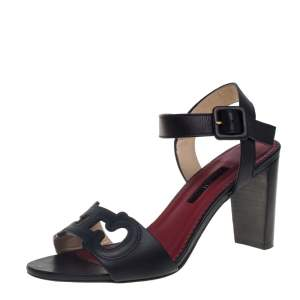 Carolina Herrera Black Leather Initials Cut Out Ankle Strap Sandals Size 38