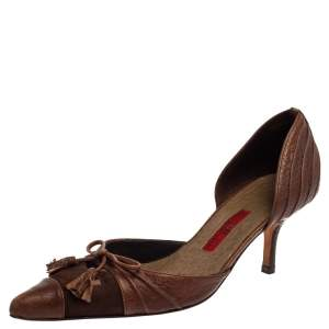 Carolina Herrera Vintage Brown Suede And Leather Bow D'orsay Pointed Toe Pumps Size 36