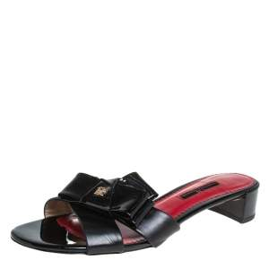 Carolina Herrera Black Leather and Patent Leather Bow Slide Sandals Size 37
