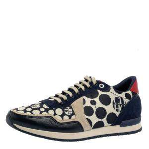 Carolina Herrera Blue/Cream Satin, Leather And Suede Low Top Sneakers Size 40