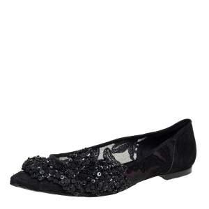 Carolina Herrera Black Lace And Suede Embellished Ballet Flats Size 38