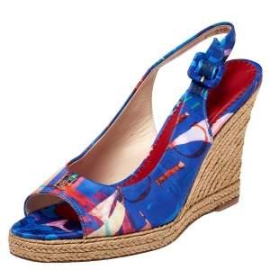 Carolina Herrera Blue Printed Satin Espadrille Wedge Sandals Size 37