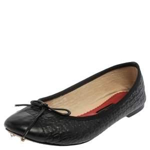 حذاء باليرينا فلات جلد أسود مقاس 40