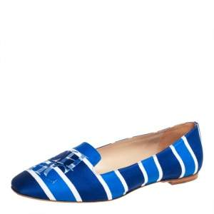 Carolina Herrera Blue/White Stripe Fabric Smoking Slippers Size 40