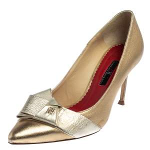 Carolina Herrera Metallic Gold/Silver Leather Bow Pumps Size 37