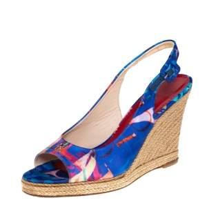 Carolina Herrera Blue Printed Satin Wedge Espadrille Slingback Sandals Size 39