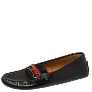 Carolina Herrera Black Leather Logo Detail Slip On Loafers Size 39